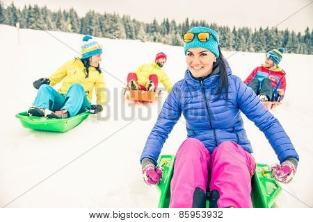 Friends Driving Sleds