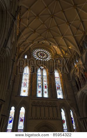 York Minster South Transept With Rose Window