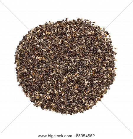 Pile of chia seeds, overhead view on white