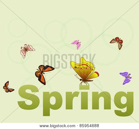 Spring concept green background with butterflies.