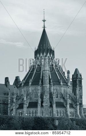 Parliament Hill library closeup in Ottawa, Canada