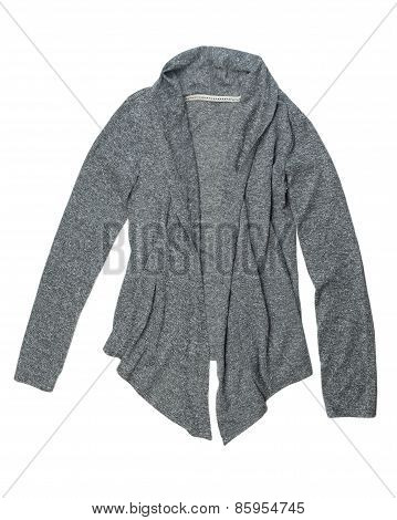 Fashionable Gray Wool Cardigan.