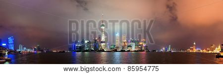 Shanghai city skyline at night over Huangpu river