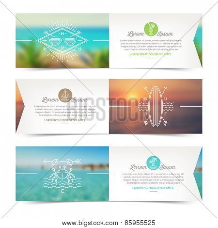 Vector horizontal banners with line drawing summer vacation and travel signs and emblems