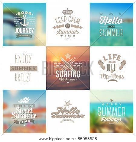 Vector set of travel and vacation type emblems and symbols on a blurred backgrounds