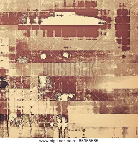 Old vintage background with retro-style elements and different color patterns: yellow (beige); brown; gray