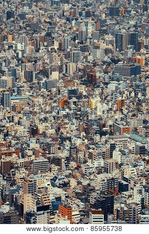 Tokyo urban rooftop view background, Japan.