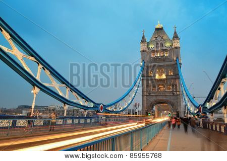 Tower Bridge in London as the famous landmark at dusk.