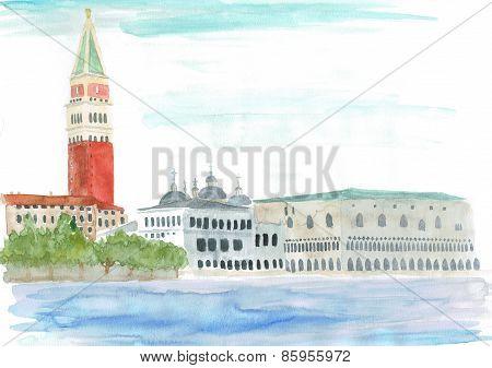 watercolor: Venice, Italy - Piazza San Marco