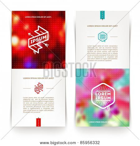 Abstract vector vertical banners with hipster emblems and blurred background