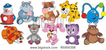 Dog, Hippo, Elephant, Cat, Kitten, Cub, Toy Set [