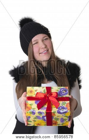 Girl In Hat Winking With A Gift