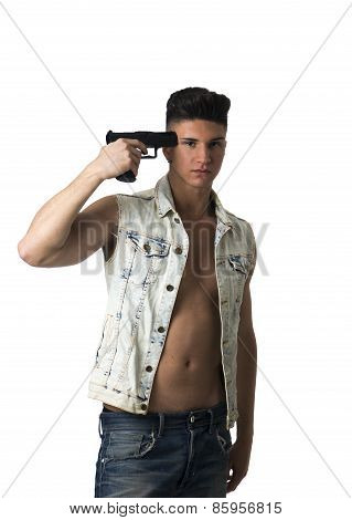 Suicidal Man Pointing A Gun At His Head