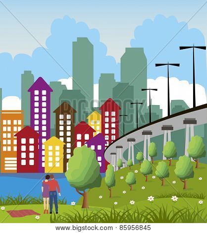 Cartoon illustration of a colorful modern city with couple