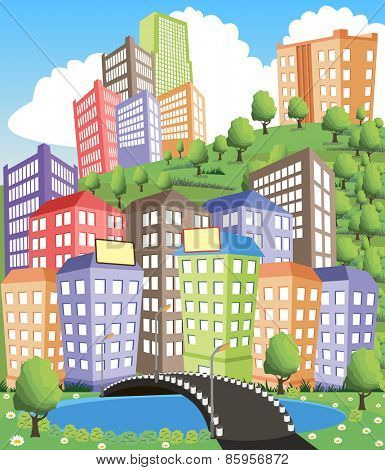 Colorful modern city illustration with road and pond