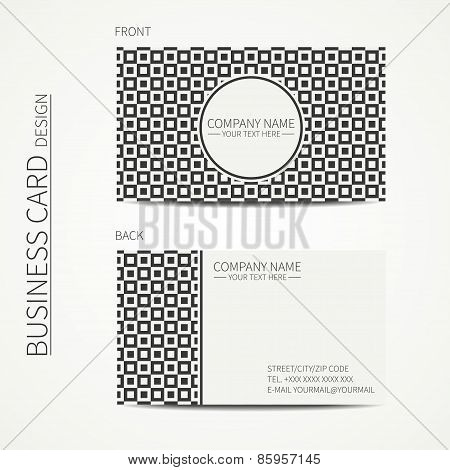 Vintage hipster simple monochrome business card template for your design. Line seamless geometric pa