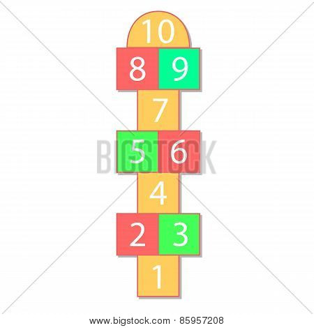 colorful illustration  with hopscotch game on grey background