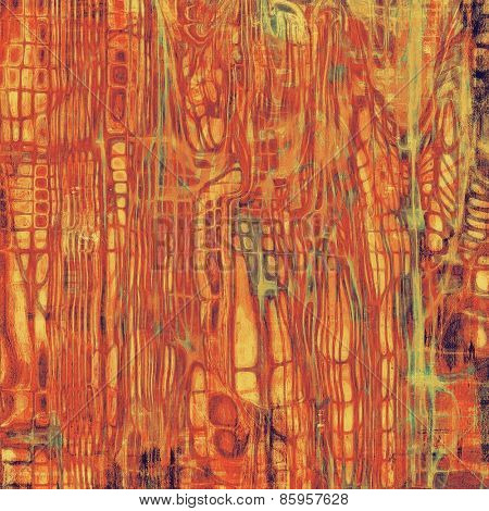 Old grunge background with delicate abstract texture and different color patterns: yellow (beige); brown; red (orange); green