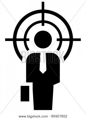 Businessman under crosshair icon