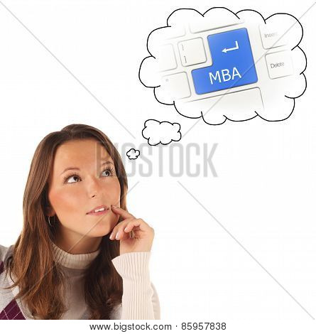 Close-up Portrait Of Girl Dreaming About On-line Mba Training (isolated)