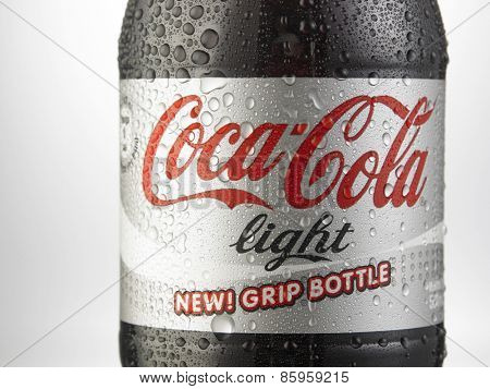 Kuala Lumpur-Malaysia : March 23,2015 Photo of a bottle of Coca-Cola Light. The brand is one of the most popular soda products in the world and it is sold almost everywhere