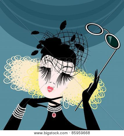 abstract lady with eyeglasses