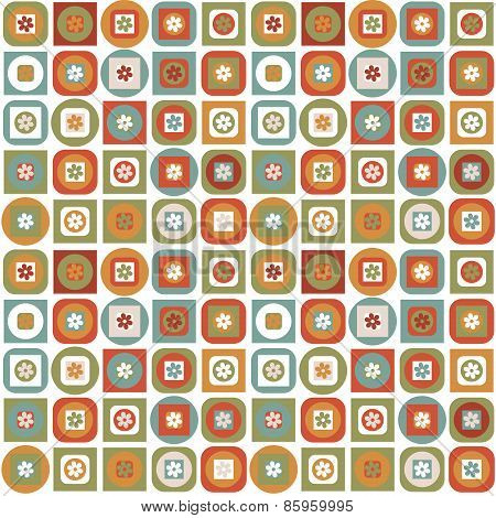 Vintage Pattern Of Geometric Shapes And Flowers