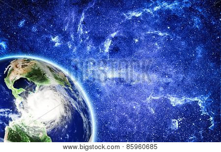 View On Storm In Caribbean Sea From Space.