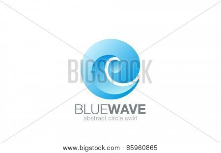 Business Abstract Swirl Water Wave Sphere Logo design element vector template. Aqua splash Logotype eco natural concept. Surfing emblem. Sea Ocean Travel icon.