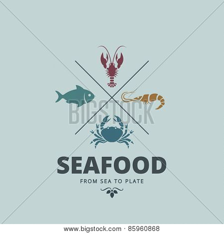 Logo Seafood Retro Vintage Label design vector template. Crab, Lobster, Shrimp, Fish icons for Restaurant Logotype.
