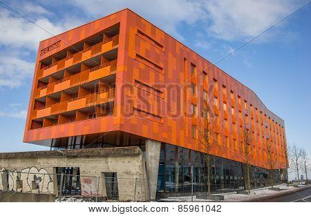 Modern Orange Appartment Building In Groningen