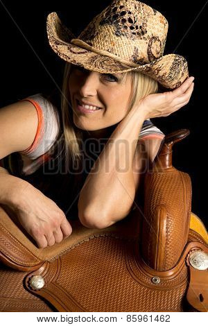 Cowgirl Lean On Saddle Hat On Smile