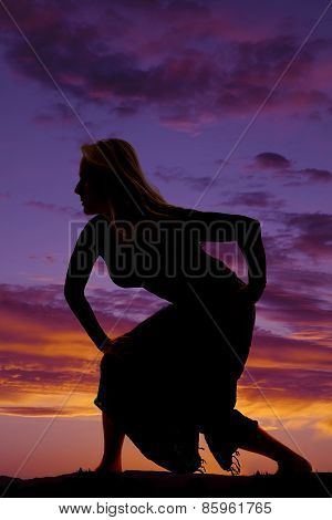 Silhouette Of A Woman In A Skirt Posing To The Side