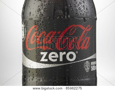 Kuala Lumpur-Malaysia : March 23,2015 Photo of a bottle of Coca-Cola Zero. The brand is one of the most popular soda products in the world and it is sold almost everywhere