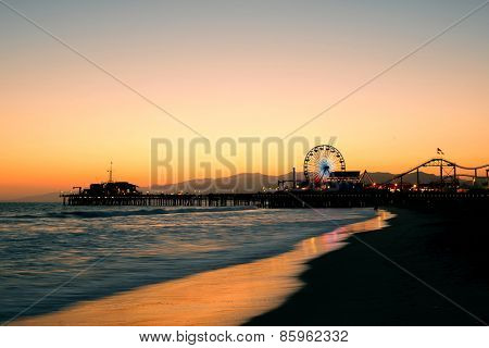 Santa Monica Pier on beach in Los Angeles