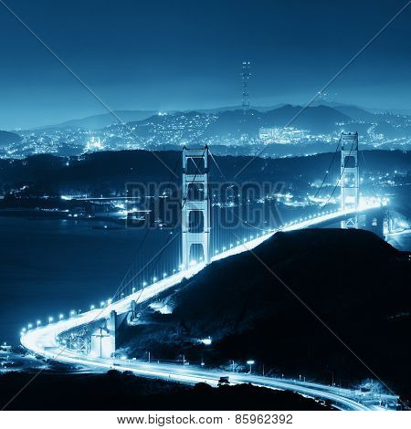Golden Gate Bridge in San Francisco as the famous landmark viewed from mountain top.