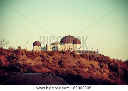 Griffith Observatory over mountain in Los Angeles.