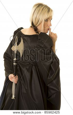 Woman In Black Cloak Hatchet Behind Back Shhh