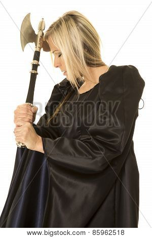 Woman In Black Cloak Hatched By Head Eyes Closed