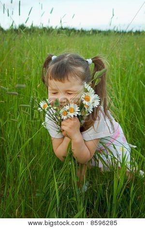 Little Girl Embraces Flowers - Chamomiles