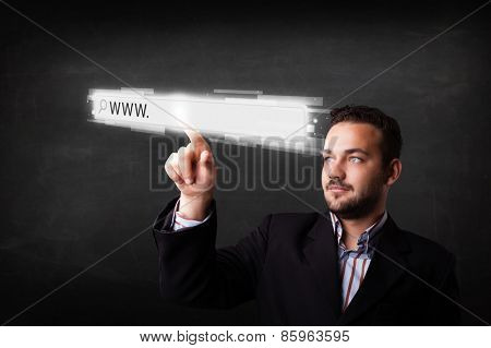 Young man touching web browser address bar with www sign