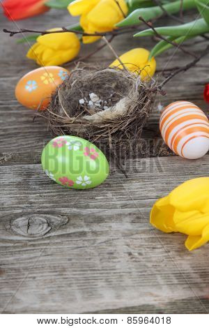 Easter Composition With Nest And Eggs