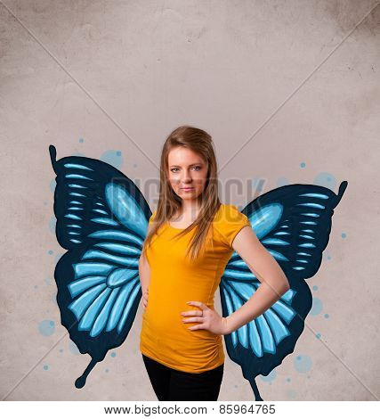 Cute young girl with butterfly blue illustration on the back