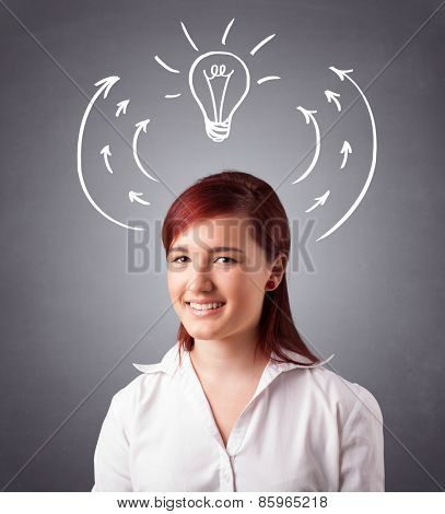 Pretty young lady standing and thinking with arrows and light bulb overhead