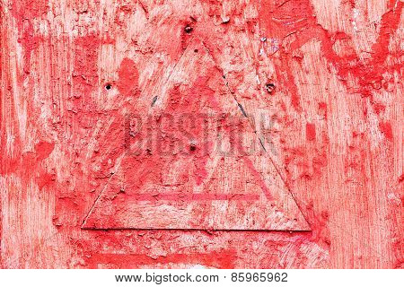 Creative Background Metal Triangle Cracks And Scratches Carelessly Painted With Red Paint. Textured