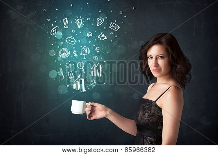 Businesswoman standing and holding a white cup with business icons coming out of the cup