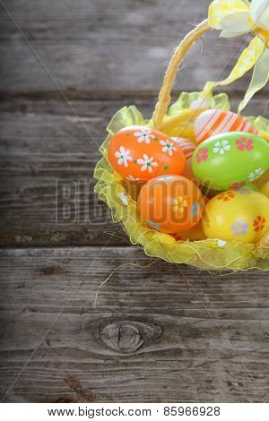 Easter Composition With Eggs In A Basket