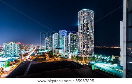 Illuminated City At Night, Miami, Florida, Usa