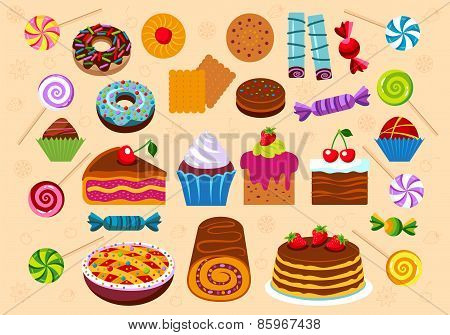 Pastry And Dessert Icon Set.