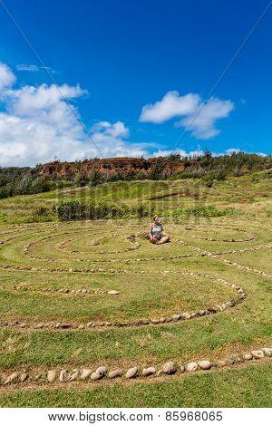 Meditating In Maui Labyrinth